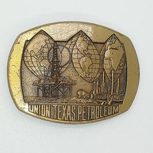 80's Vintage Brass Oil Field Belt Buckle